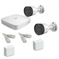 IP Комплект видеонаблюдения Dahua 4MP (2K) Ultra HDPOE 2 цилиндра(металл)