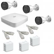 IP Комплект видеонаблюдения Dahua 4MP (2K) Ultra HD POE 3 цилиндра(металл)