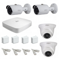 IP Комплект видеонаблюдения Dahua Ultra HD POE 2 уличн -2 купол (металл)