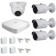 IP Комплект видеонаблюдения Dahua Ultra HD POE 3 уличн -1 купол (металл)