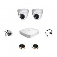 Комплект видеонаблюдения 4МП Dahua Ultra HD 2 купол (металл)