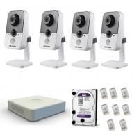 Комплект внутреннего ip видеонаблюдения корпусные камеры